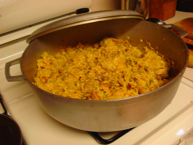 Arroz con pollo in our big-ass cazuela